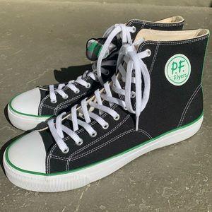 P.F Flyers Center HI Men's Shoes Black/White/Green